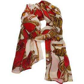 Leegoal Silky Chiffon Traveler Chain Print Women Scarf ,Red&Beige