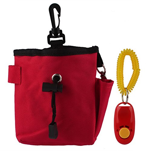 OurWarm Dog Pet Treat Bait Waist Pouch Puppy Reward Based Training Bag with Buckle Belt Red