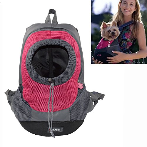 YAMAY® Creative Durable Comfortable Fabric Mesh Head Out Design Pet Puppy Dog Front Carrier Bag Pack Backpack Fit for Small Dogs Portable for Outdoor Travel Hiking (S, Rose)