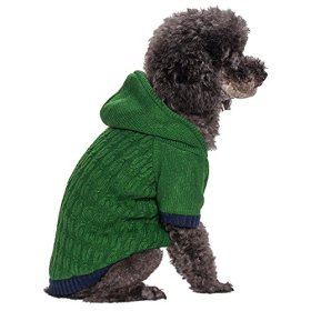Blueberry Pet Clothes 12-Inch Back Length Twist Cable Knitted Fleece Hooded Pull Over Sweater for Dogs in Sea Green