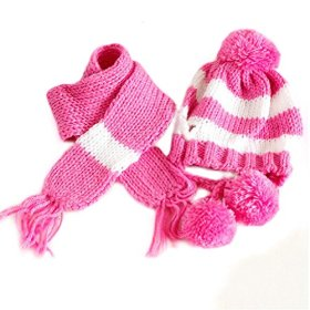 Silvercell Puppy Pet Dog Scarf Pom-pom Cap Collar Clothes Costume Knitted Hat Pink XXXS