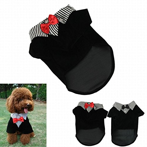 IUNEED Cute Small Pet Dog Clothes Western Style Gentelpet Suit Bow Tie Puppy Costume (Red, M)