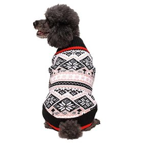 Blueberry Pet 14-Inch Back Length Nordic Fair Isle Snowflakes Dog Sweater
