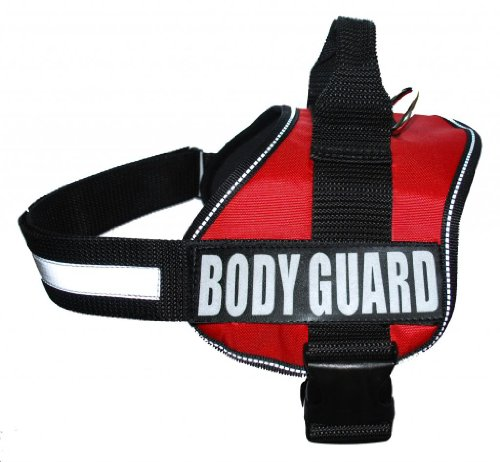Body Guard Service Dog Vest Harness with removable Velcro Patches. Purchase comes with 2 BODY GUARD reflective patches. Please measure your dog before ordering.