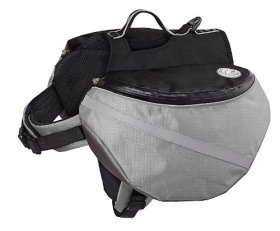 Dog Backpack Adjustable Saddlebag Waterproof Nylon for Travel Hiking Camping (Grey , M)