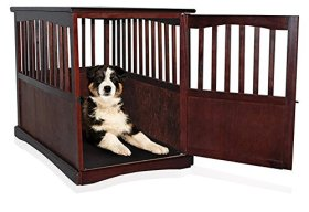Wooden Pet Crate Table For Dog's Cat's Espresso Enclosure Cage 36.5″ x 24″ wide x 29.25″ Locking Kennel Enclosure