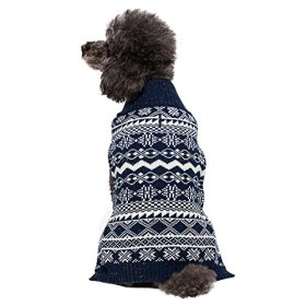 Blueberry Pet 14-Inch Back Length Vintage Tinsel Knit Fair Isle Dog Sweater in Midnight Blue