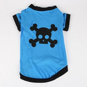 Commoditier(TM) Pet Dog Cat Cute Pirate Symbol Puppy T-Shirt Small Dog Apparel Dress Size Medium – Blue Color — DESIGNED FOR SMALL BREED DOGS