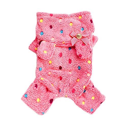 Urparcel Pet Dog Soft Warm Jumpsuit Coat Dot Bow Hoody Clothes Jacket Rose X-Small