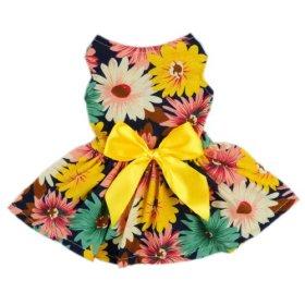 Fitwarm® Pet Elegant Floral Ribbon Dog Dress Shirt Vest Sundress Clothes Apparel, Medium