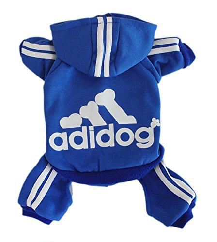 Scheppend Adidog Pet Clothes for Dog Cat Puppy Hoodies Coat Winter Sweatshirt Warm Sweater,Blue Medium