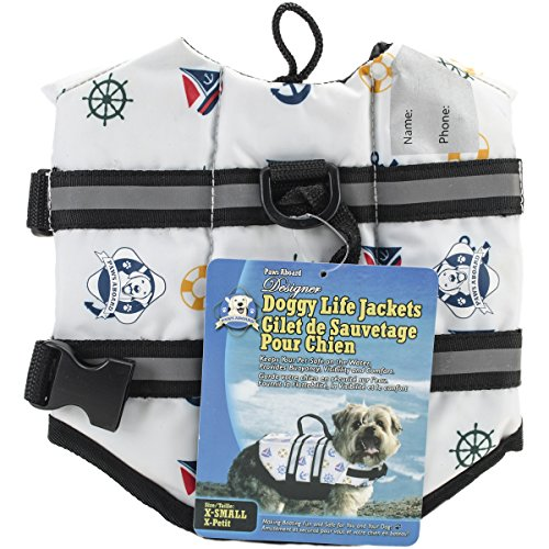 Fido Pet Products Paws Aboard Doggy Life Jacket, X-Small, Nautical Dog