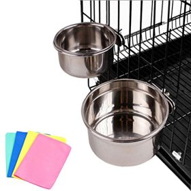 Stainless Steel Cage Coop Cup Bolt Clamp Hanger Bird Cat Dog Puppy Crate Bowl With Towel (Small)