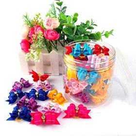 Berry® 20pcs Cute Dog Hair Bows with Rubber Bands Nylon Pet Grooming Accessoriess Mixed Color