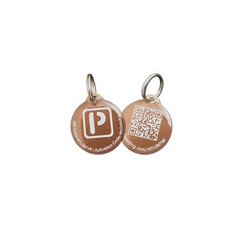 Brown Round Aluminum QR Code Pet ID Tag w/ Smartphone/Web GPS Tracking Enabled (w/epoxy coating)