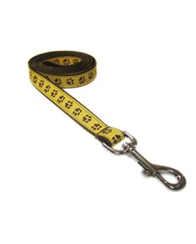 Small Yellow/Brown Puppy Paws Dog Leash: 3/4″ wide, 4ft length – Made in USA.