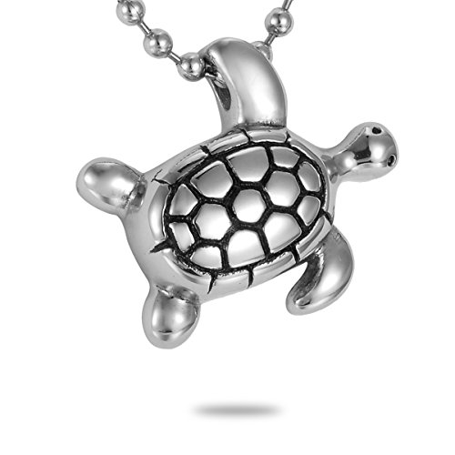 HooAMI Cremation Jewelry Silver Lovely Turtle Charm Pet Memorial Urn Necklace Ashes Keepsake Pendant