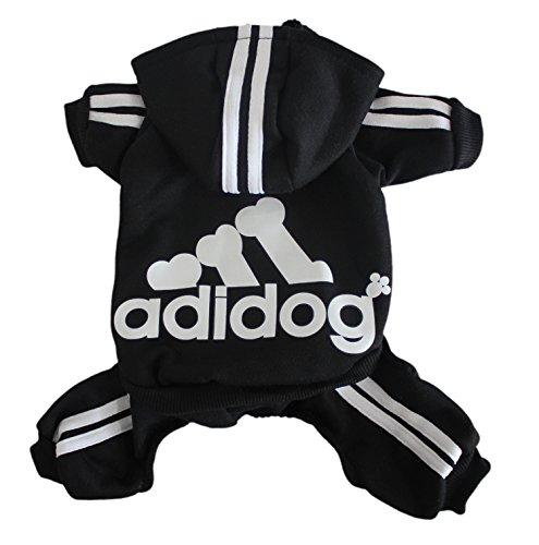 Scheppend Adidog Pet Clothes for Dog Cat Puppy Hoodies Coat Winter Sweatshirt Warm Sweater,Black Medium