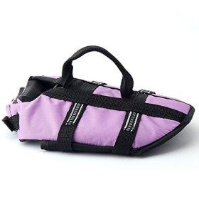 Funkeen Dog Life Jacket Aquatic Pet Safety Preserver Vest with Reflective Tape (Medium, Purple)