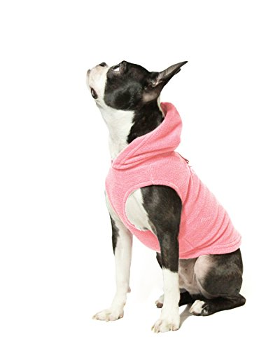 Gooby Every Day Fleece Cold Weather Dog Vest with Hoodie for Small Dogs, Pink, Medium