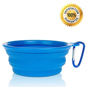 Nom Nom Puppy Collapsible, Eco-friendly, Portable Travel Pet Water Bowl (12 Oz) with Free Bonus Carabiner Belt Clip – Lightweight, Convenient, Travel Cup, Durable, Pop-up, Silicone Dog Bowl – Pet Safe – 100% Satisfaction Guaranteed (Blue)