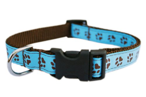 Sassy Dog Wear 10-14-Inch Blue/Brown Puppy Paws Dog Collar, Small