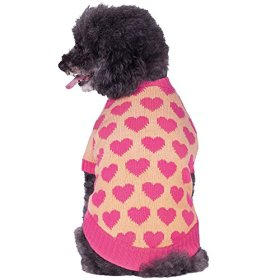 Blueberry Pet 12-Inch Back Length Cutie V-neck Dog Sweater in Shrimp Color with Valentines Pink Hearts, Winter Clothes for Dogs Girl