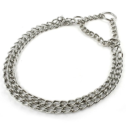 Berry Dog Pet Puppy Martingale Pinch Metal Stainless Steel Collar for Training Walking Link Double Plated Choke Chain Neck for Small Dogs 16-20″