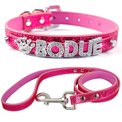 Didog Pink Personalized Free Rhinestones Names Customized Soft PU Leather Dog Puppy Collars with Matching Leash 5/8″*8-10″