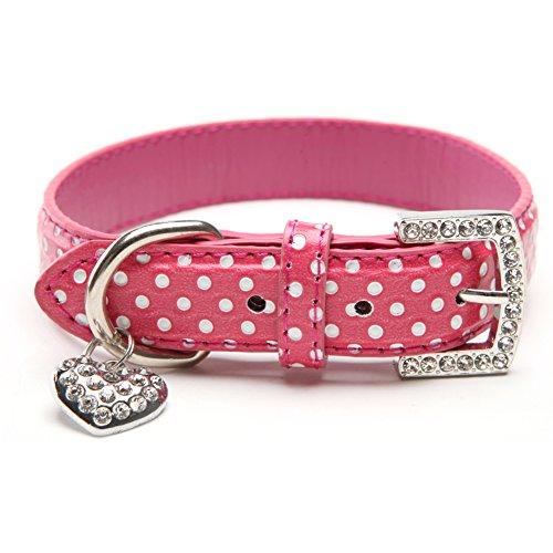 BingPet BA2028 Polka Dots Leather Pet Puppy Dog Collar with Heart Pendant