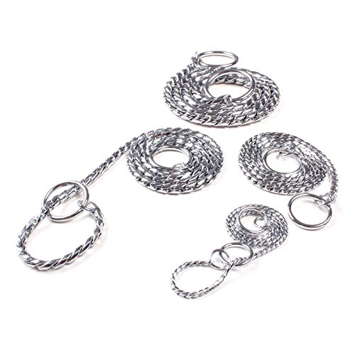 Gold Panda-New Solid Snake P Choke Chain Metal Training Collar For Dog Puppy (13.8″×0.08″ / 35×0.2cm)