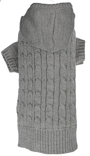 Grey Dog Classic Cable Pet Sweater Hoodie for Dogs, X-Large (XL) Size