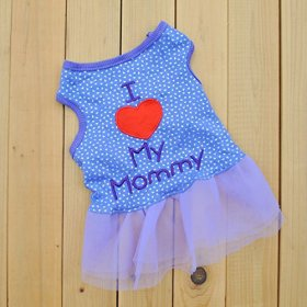 """Summer Apparel Puppy Dog 2014new pet puppy small dog apparel clothes """"i love mommy"""" lady casual dress"""