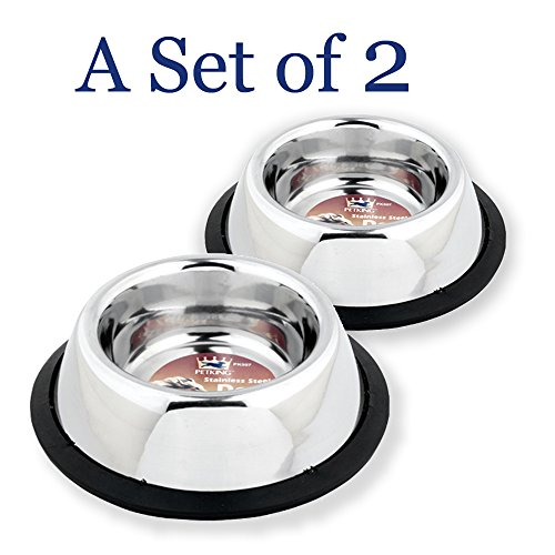 Stainless Steel Pet Bowls, for Small Pets. Sturdy, Stainless Steel with Non Skid Bottom, for Dogs, Puppies, Cats, Kittens, Rabbits. (Set of 2)