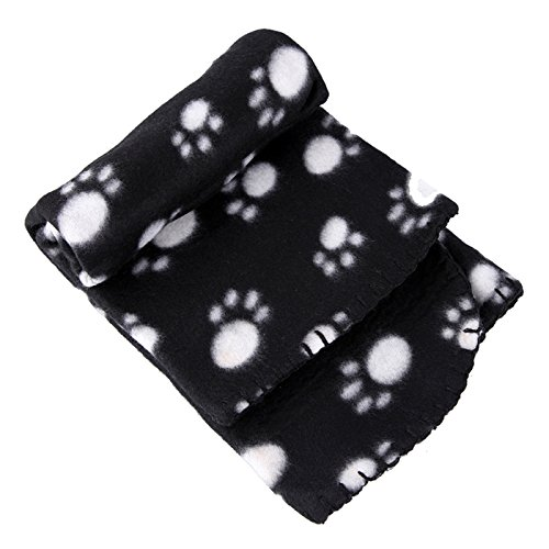 Pet Dog Cat Puppy Kitten Soft Blanket Doggy Warm Bed Mat white Paw Print Cushion (black)
