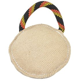 Dogline Viper Jute Round Bite Pillow Tug Toy Reward for Adult Dogs and Puppies