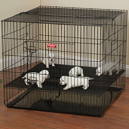 ProSelect Puppy Playpens with Plastic Pan – Small, Black 36″L x 24″W x 30″H; Medium, Black 36″L x 36″W x 30″H; Large, Black 48″L x 48″W x 30″H