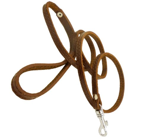 4′ Genuine Leather Classic Dog Leash Brown 3/8″ Wide For Small Breeds and Puppies
