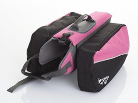 2PET Quick Release Adjustable Saddlebags Dog Backpack Style Dog Accessory for Large Dogs 14 inches long Cheerful Pink