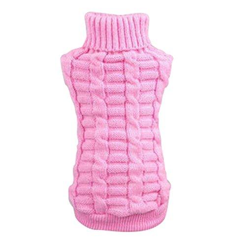 PanDaDa Puppy Small Pet Dog Cat Sweater Clothes Winter Coat Apparels Pink XXS