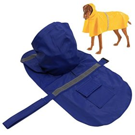 PETBABA PET ECO Lightweight Adjustable Reflective Slicker Raincoat Jacket for Small to Large Dogs Blue XXL