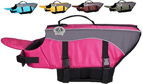 Vivaglory Dog Life Jacket Dog Lifesaver Vest Pet Reflective Life Preserver, Extra Large, Pink