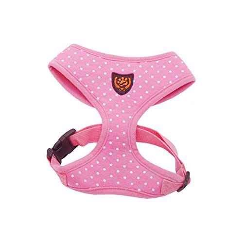 My Pet Fashion Soft Mesh Comfy Step in Dog Vest Harness for Minis,Toys,Puppies,Small Dog Breeds 2-3lbs,Pink with Dots XS
