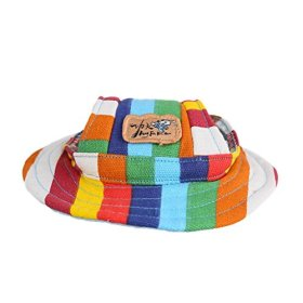 Kung Fu Dog Colorful Stripe Pet Dog Cat Canvas Hat Sun-shading Cap with Ear Holes Only for Small Dogs