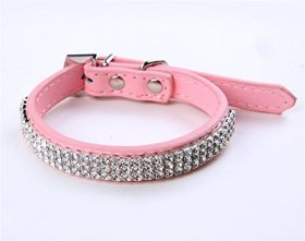 Puppy-league® Pu Leather Diamond Dog Collars Necklace Strap with Rhinestone Heart Pendant (Pink, S)
