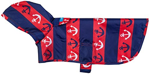 RC Pet Products Packable Dog Rain Poncho, Nautical, X-Large