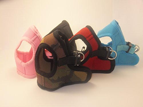 Soft Mesh Comfy Step in Dog Vest Harness for Teacups, Toys, Minis, Puppies, Small Dog Breeds 2-16 lbs, Baby Pink, Sky Blue, Black, Red, Camo X-small, Small, Medium, Large, X-large (Camo, x-small)