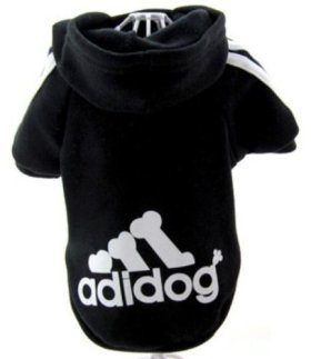 Adidog Black Dog Sweatshirt Hoodie Jacket – For Smaller Pet (L (Length: 10″))