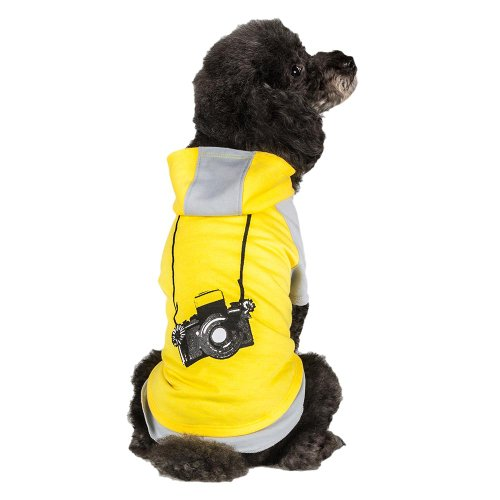 Blueberry Pet 12-Inch Cotton Camera Hoodie for Dogs, Medium, Gray and Yellow