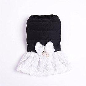 Gracious Dog Winter Dress with Bow Tie (black, XS)